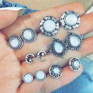 Crescent Moon Stud Earring Set Lot Ornate Silver